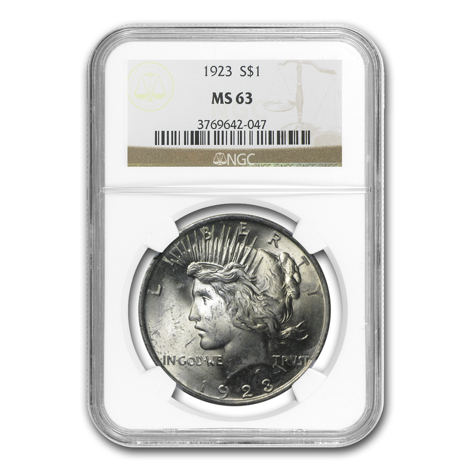 1923 Peace Dollar MS-63 NGC