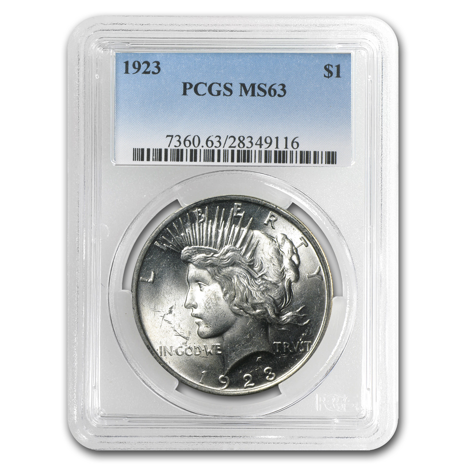 1923 Peace Dollar MS-63 PCGS