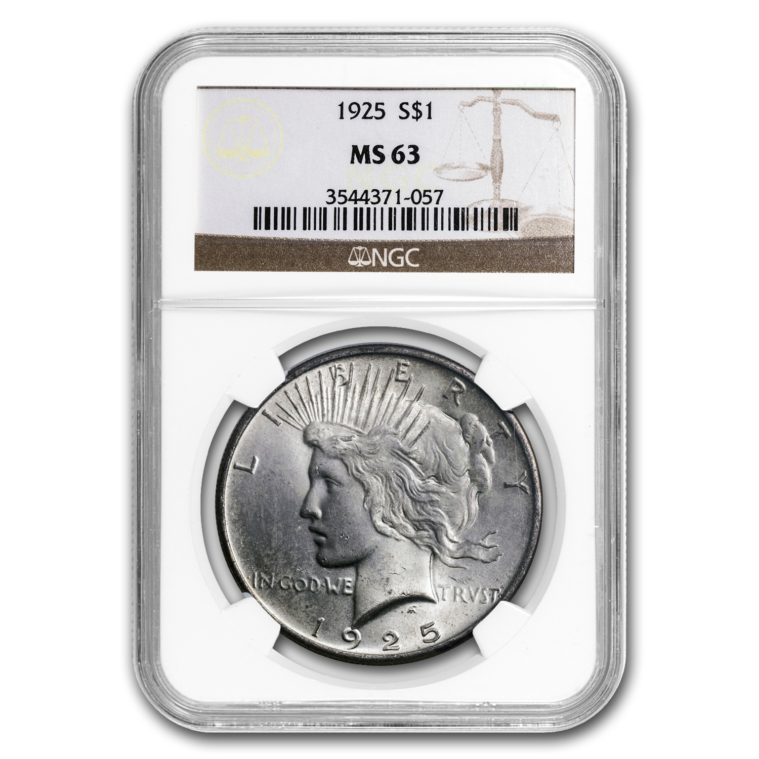 1925 Peace Dollar MS-63 NGC