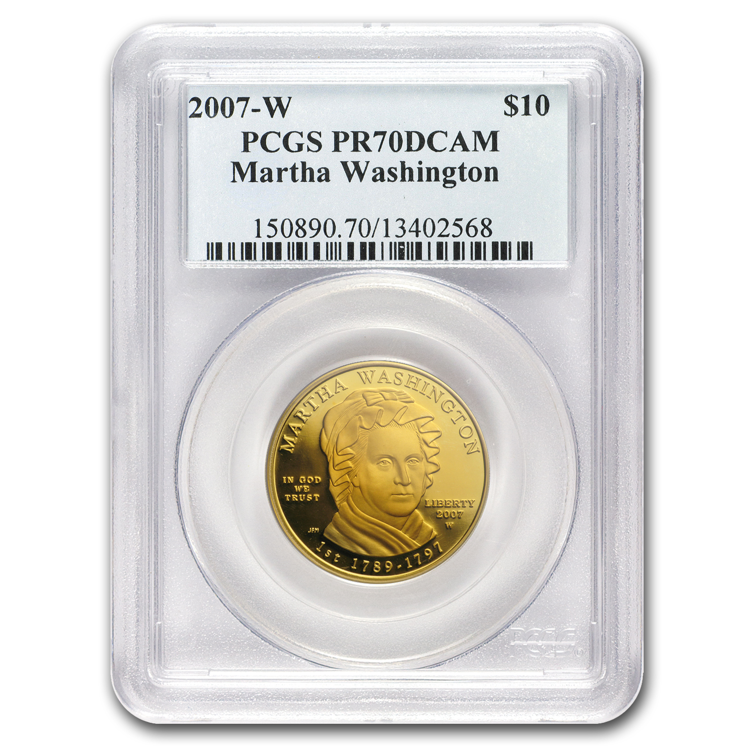 2007-W 1/2 oz Proof Gold Martha Washington PR-70 PCGS