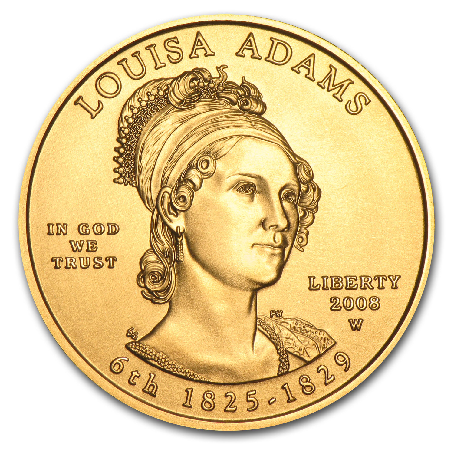 2008-W 1/2 oz Uncirculated Gold Louisa Adams (w/Box & CoA)