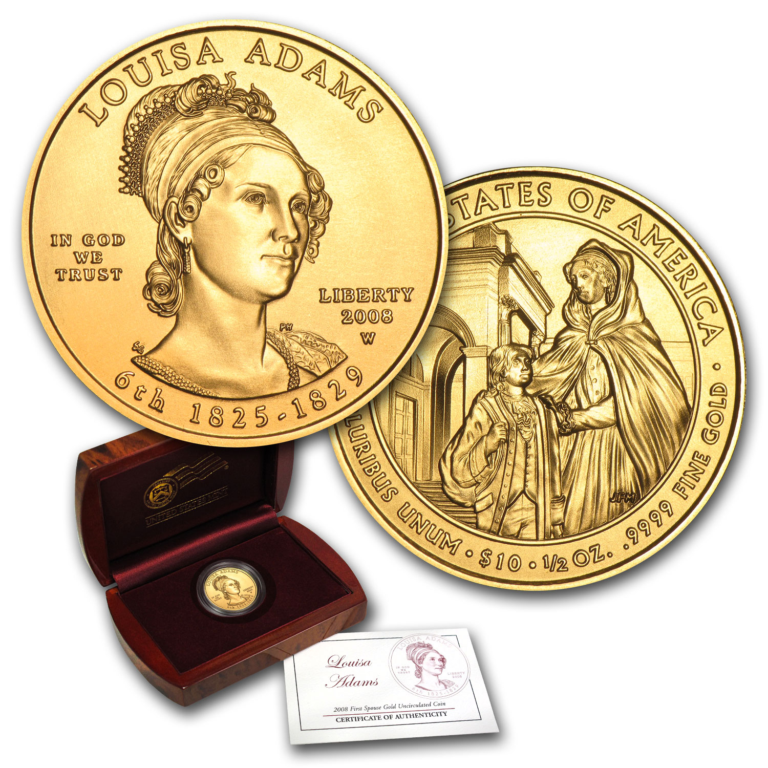 2008-W 1/2 oz Gold Louisa Adams BU (w/Box & COA)