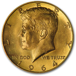1964 Kennedy Half Dollar Gold Plated Kennedy Half