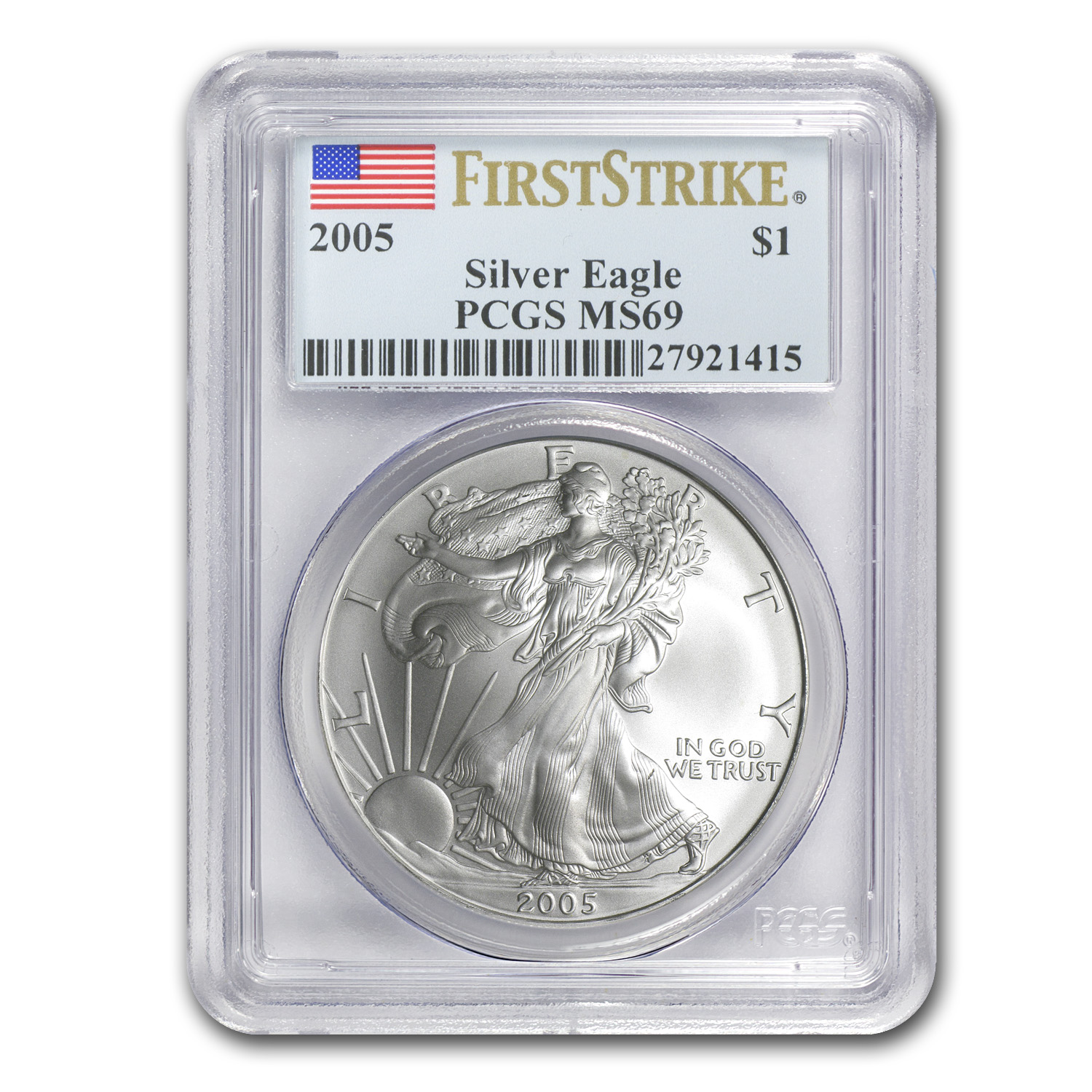2005 Silver American Eagle MS-69 PCGS (First Strike)