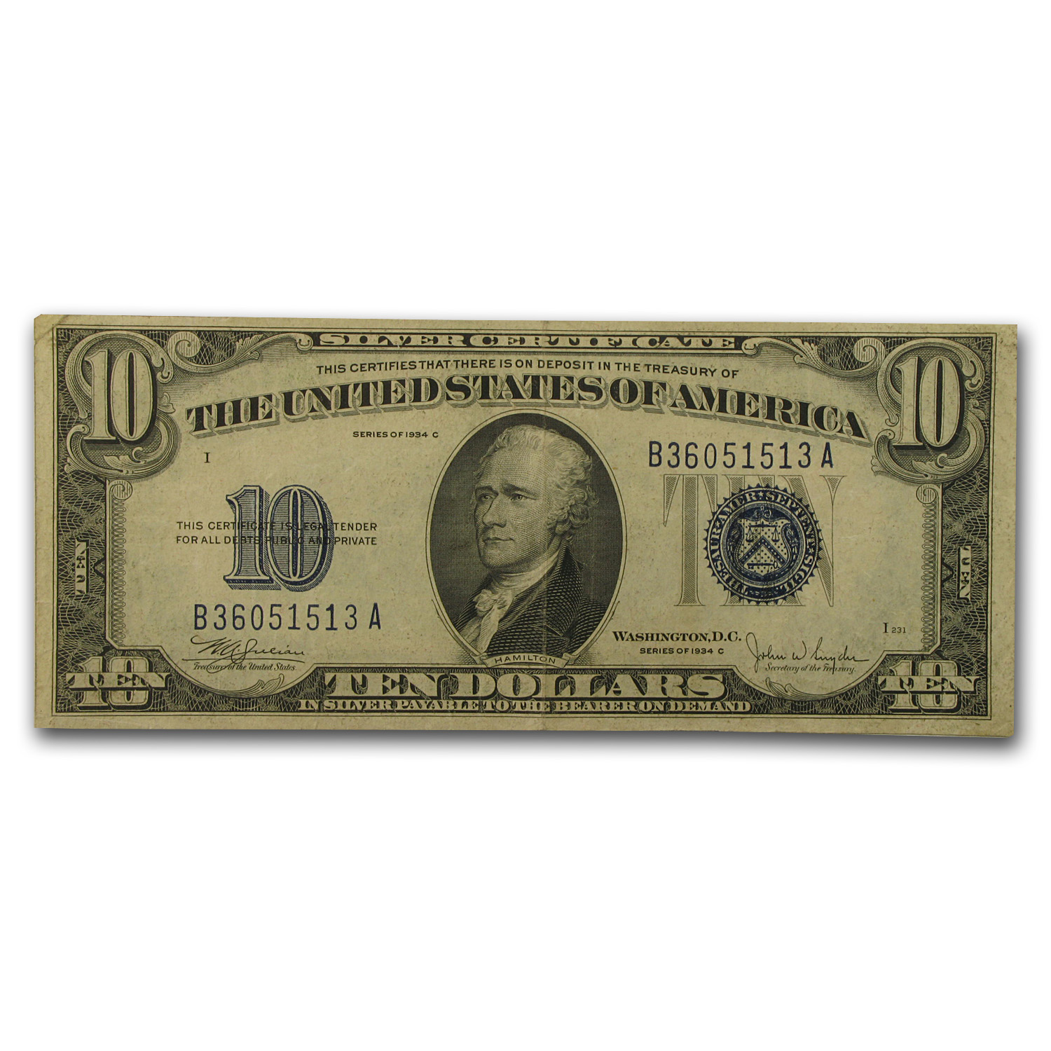 1934 thru 1934-D $10 Silver Certificates - (Very Fine)