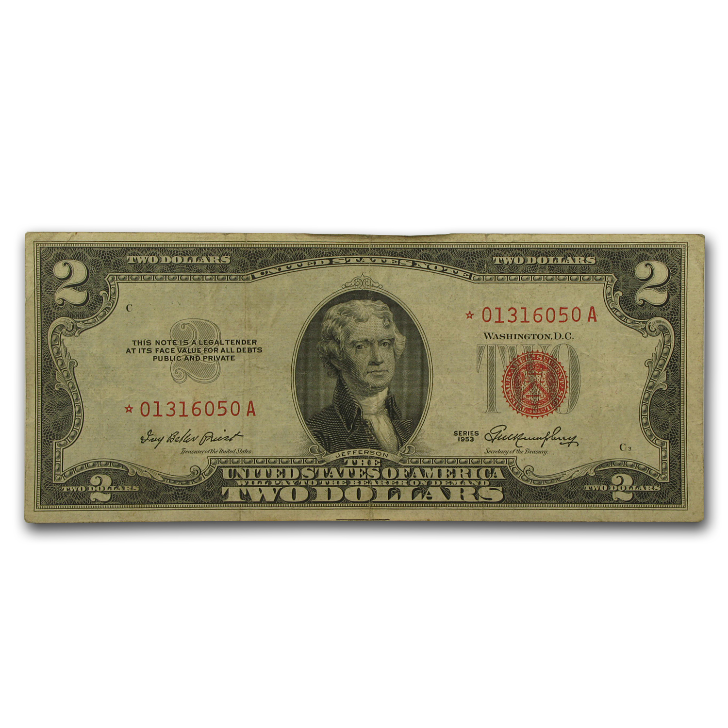 1953s * $2 USN's (RED SEALS) (Very Good-Very Fine) - Star Note