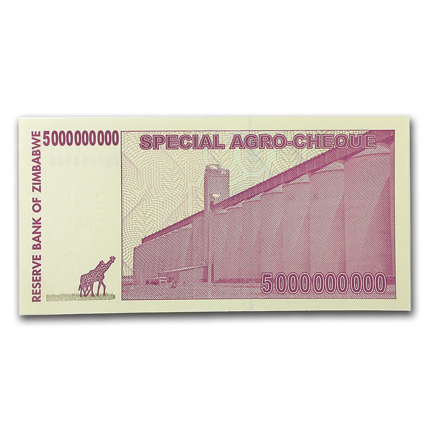 2008 Zimbabwe 5 Billion Dollars Giraffe Grain Elevators Unc