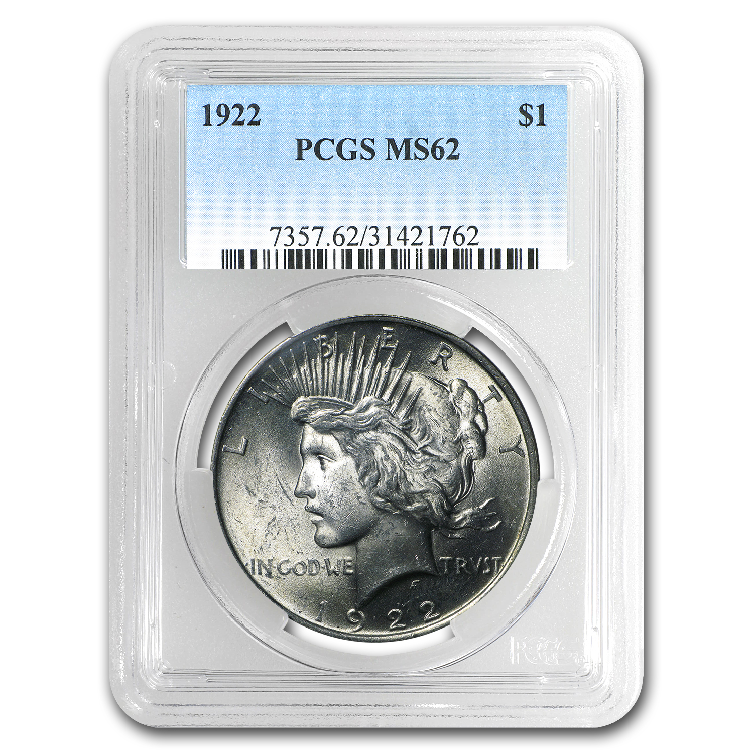 1922 Peace Dollar MS-62 PCGS