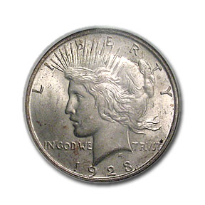 1923 Peace Dollar MS-64 NGC - Binion Collection