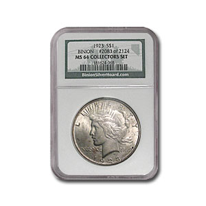 1923 Peace Dollar MS-64 NGC (Binion Collection)