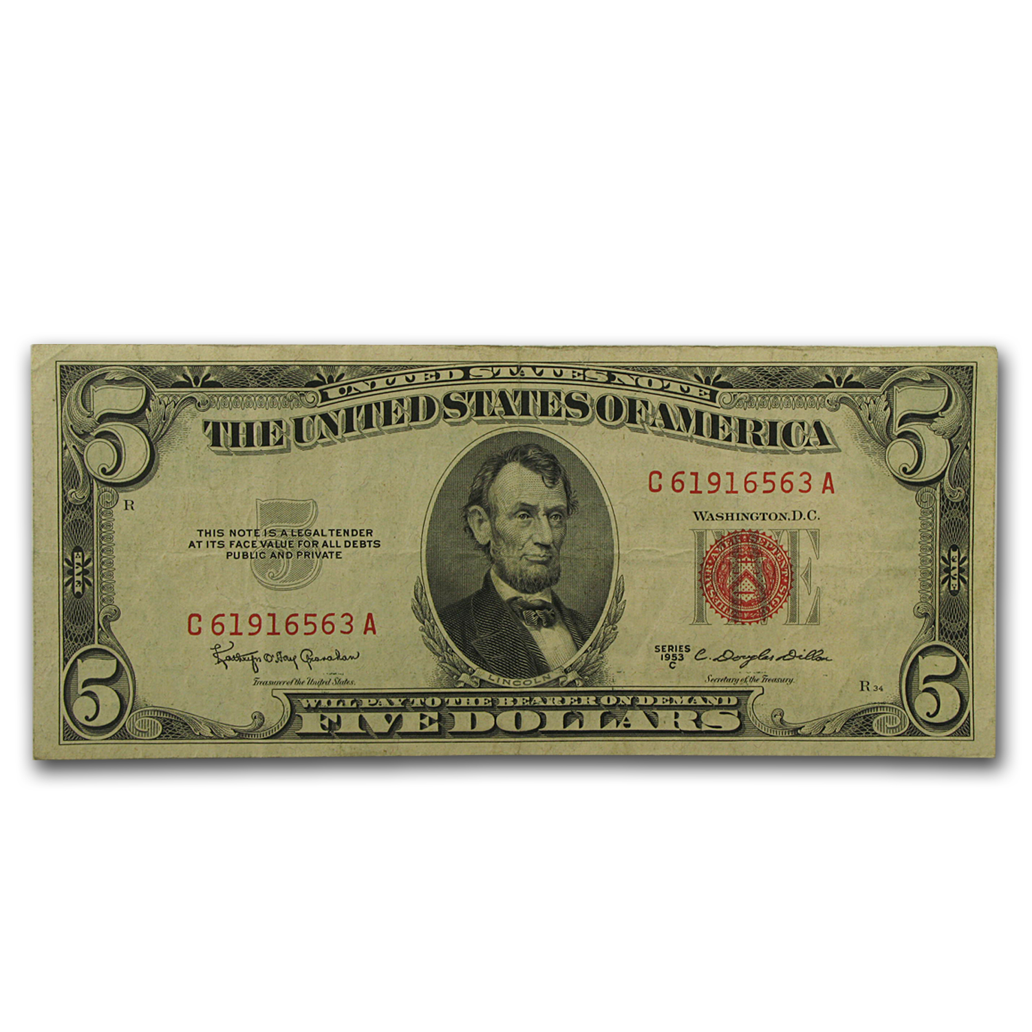 1953 thru 1953-C $5.00 U.S. Note Red Seal VG/VF