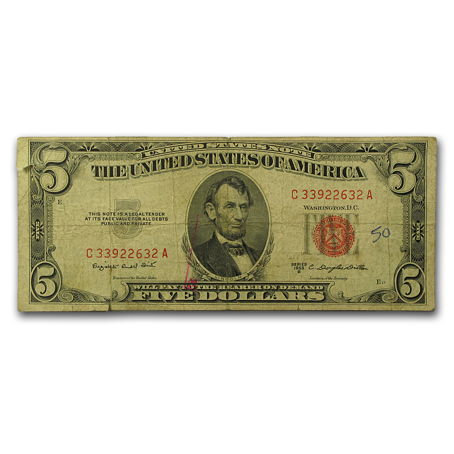 1953 $5.00 U.S. Note Red Seal Cull/Good