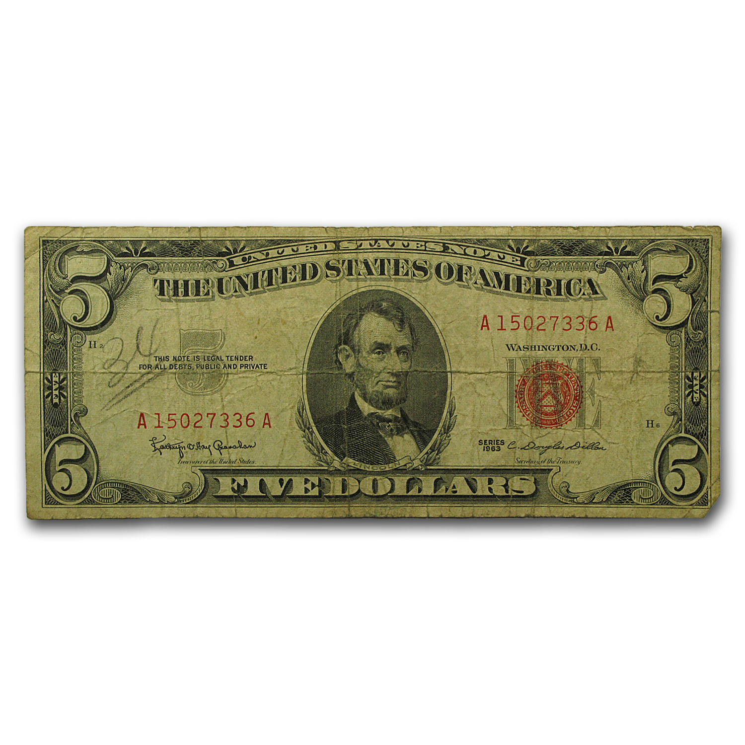 1963 $5.00 U.S. Note Red Seal Cull/Good