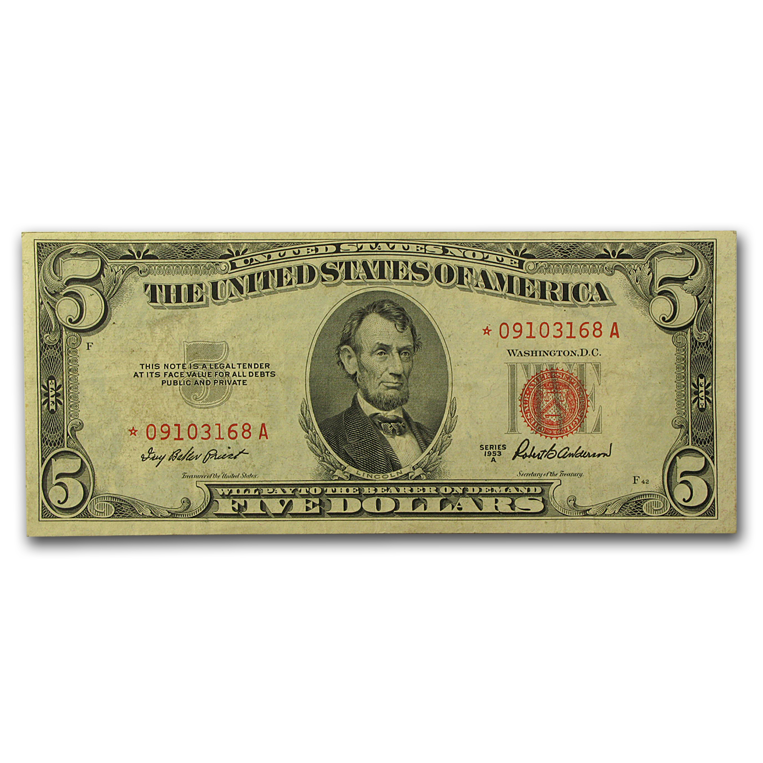1953s* $5.00 U.S. Note Red Seal VG/VF (Star Note)