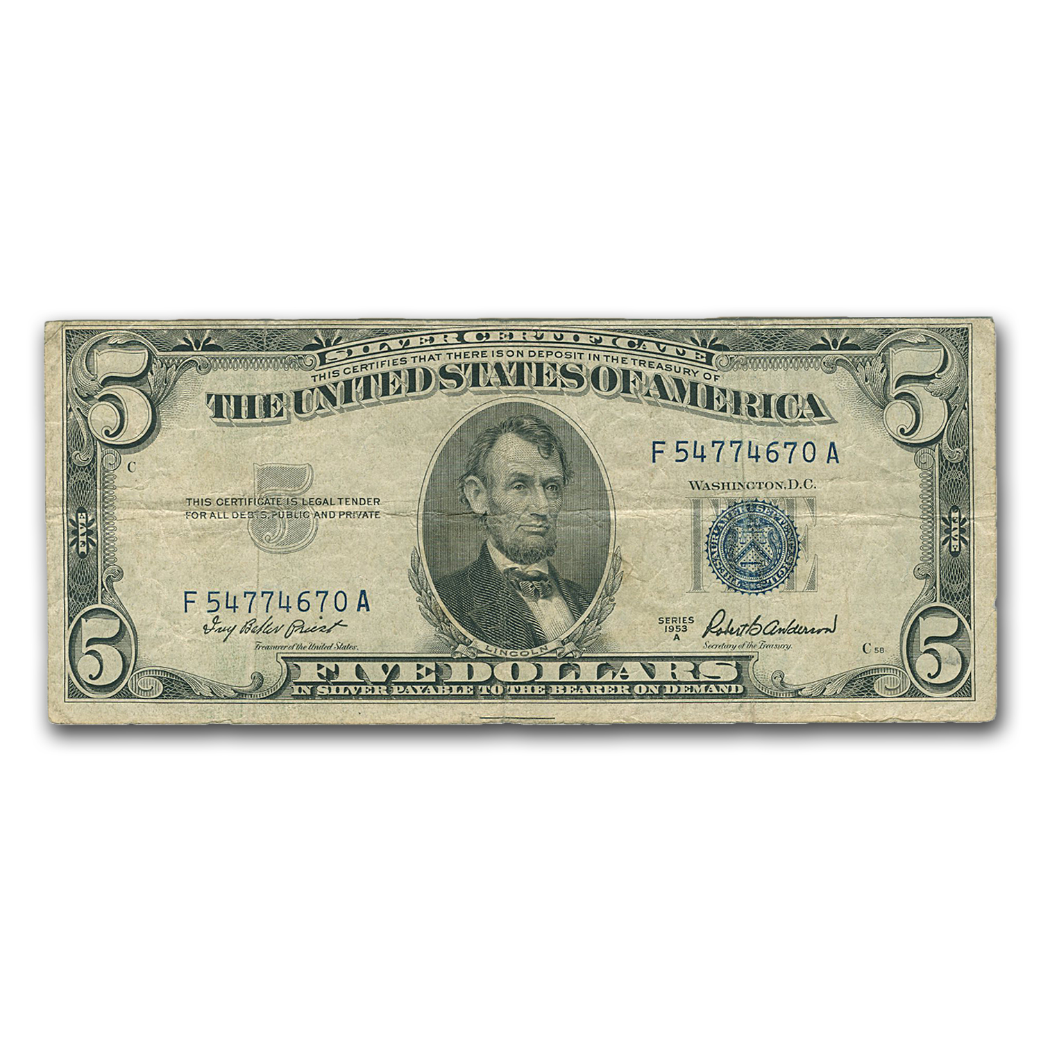 1953-1953B $5 Silver Certificates Very Good-Very Fine