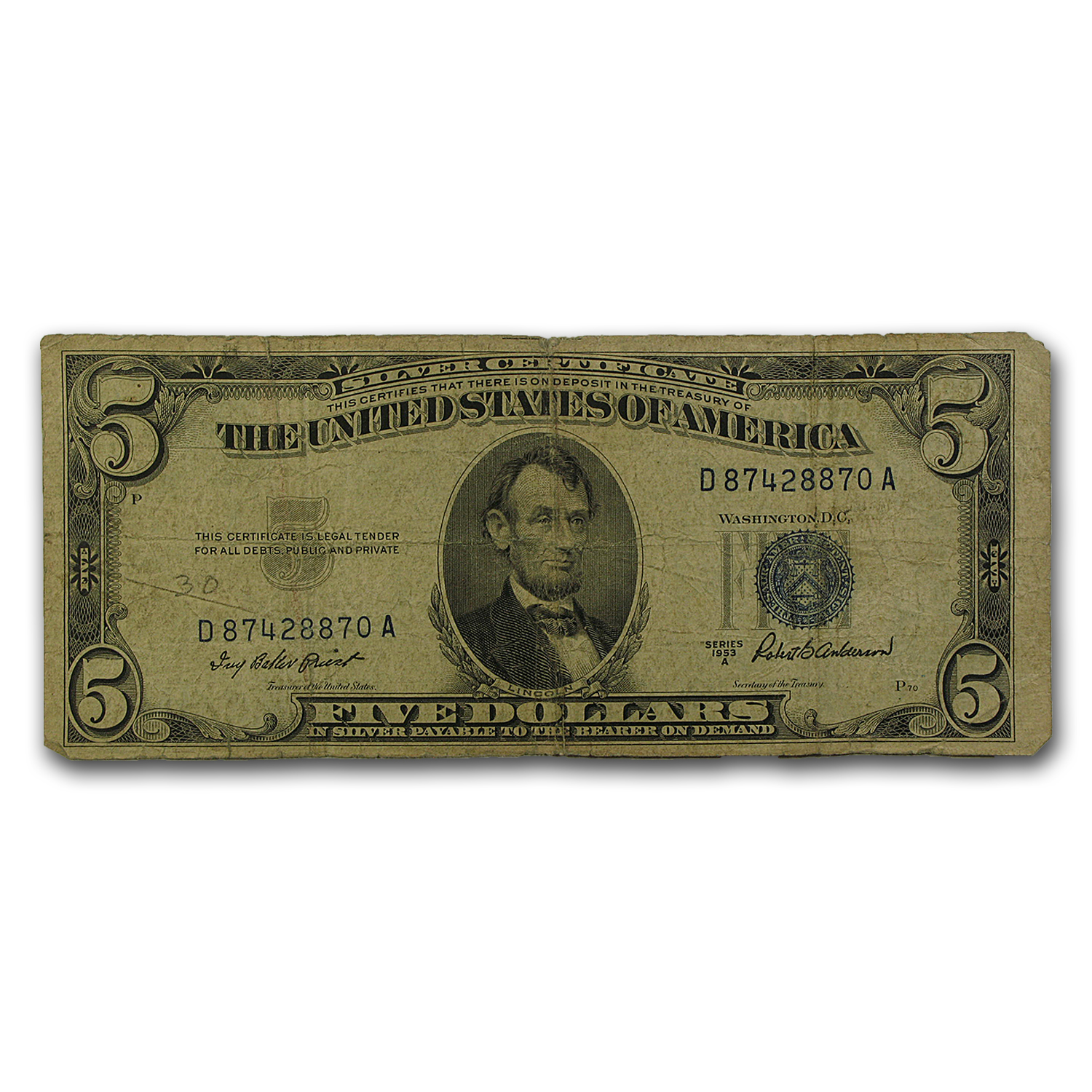1953's $5.00 Silver Certificate Cull/Good