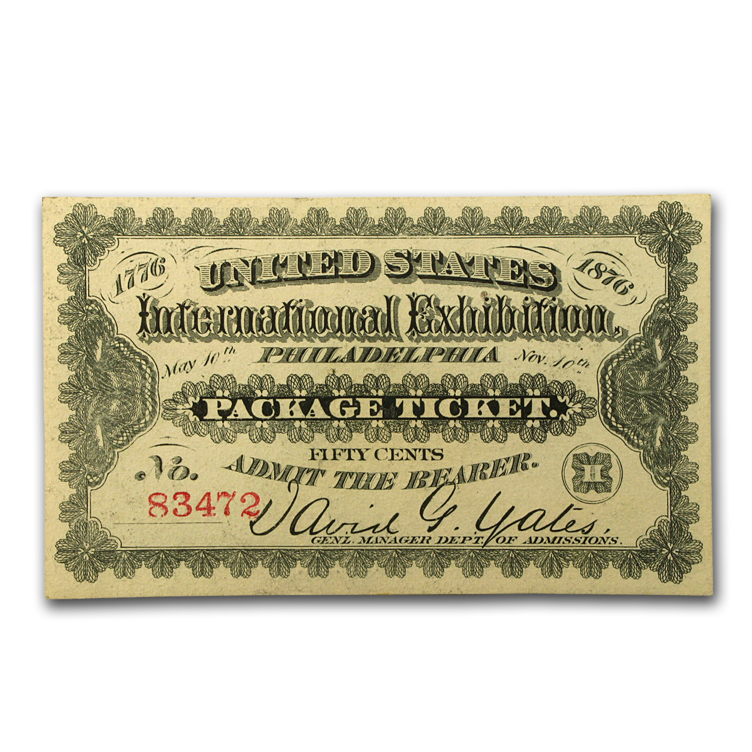 1876 Centennial Exposition Admission Ticket