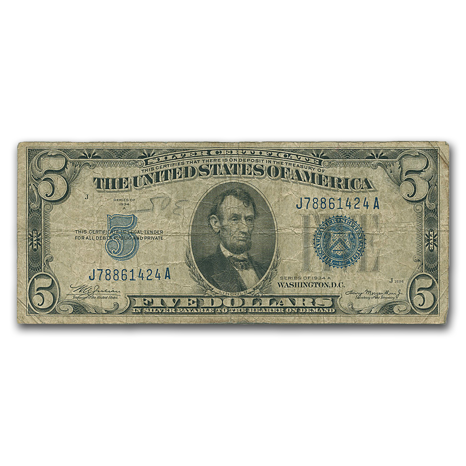1934-1934-D $5.00 Silver Certificates Cull/Good