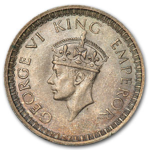 India 1 Silver Rupee George VI BU (Random Dates)