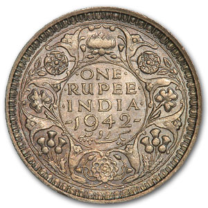India 1 Rupee Silver BU George VI Random Dates