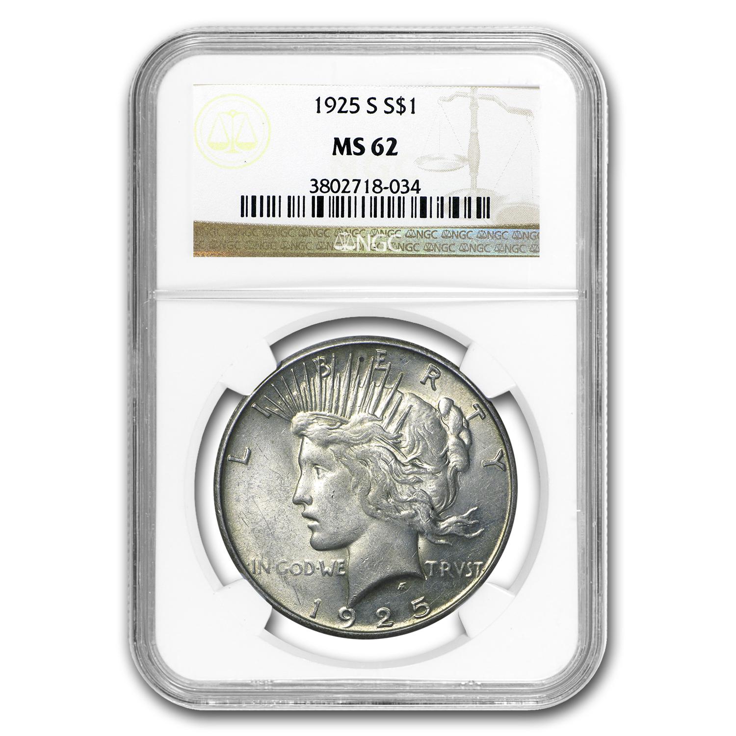 1925-S Peace Dollar MS-62 NGC
