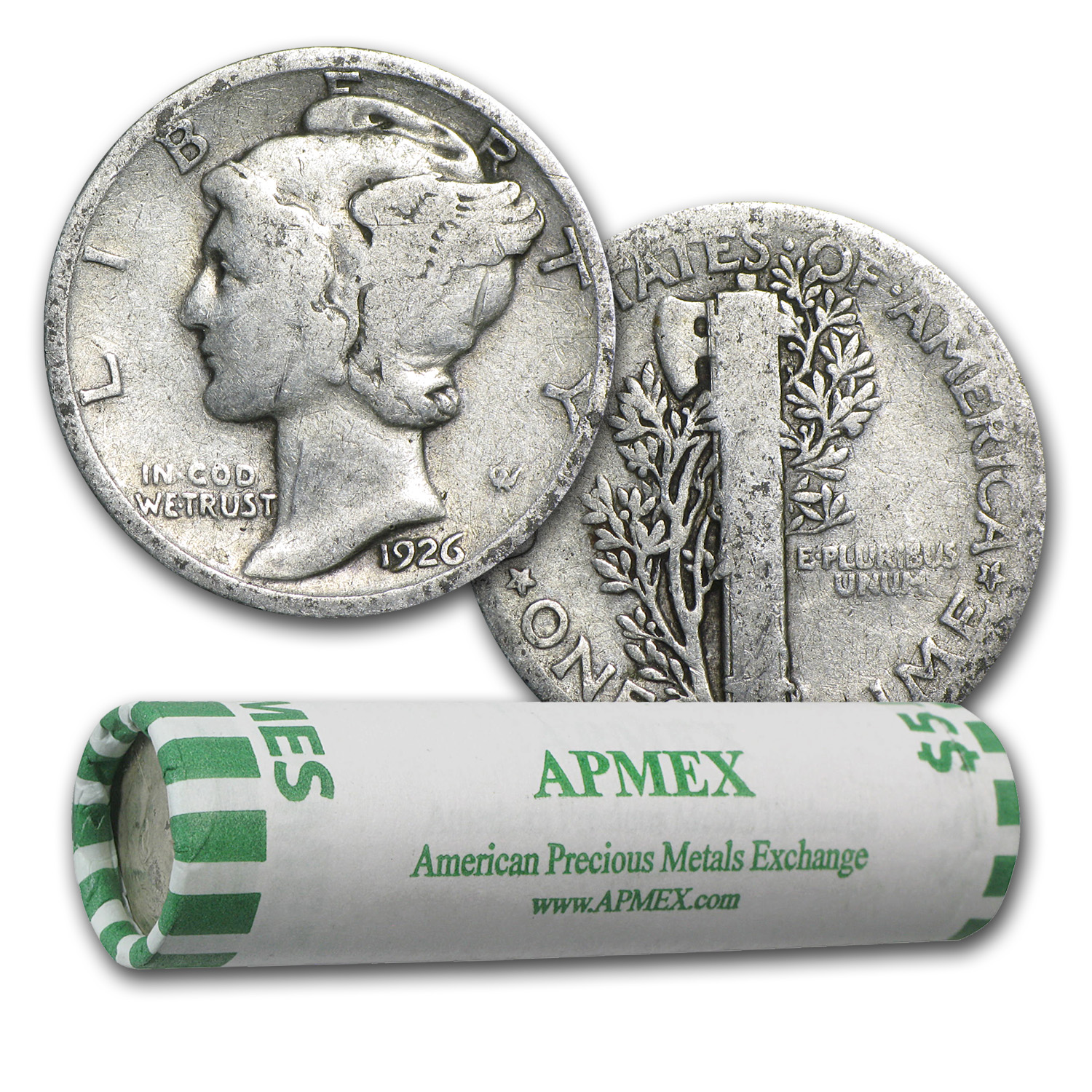90% Silver Mercury Dimes $5 50-Coin Roll (1916-1929)