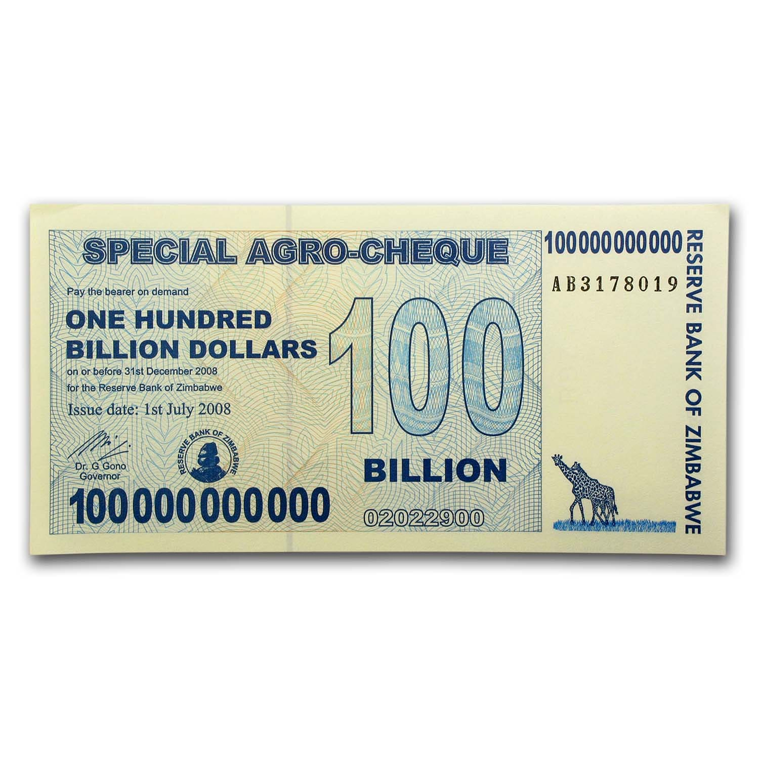 Zimbabwe 2008 100 Billion Dollars Unc Giraffe Grain Elevators