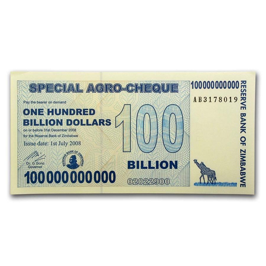 2008 Zimbabwe 100 Billion Dollars Giraffe Grain Elevators
