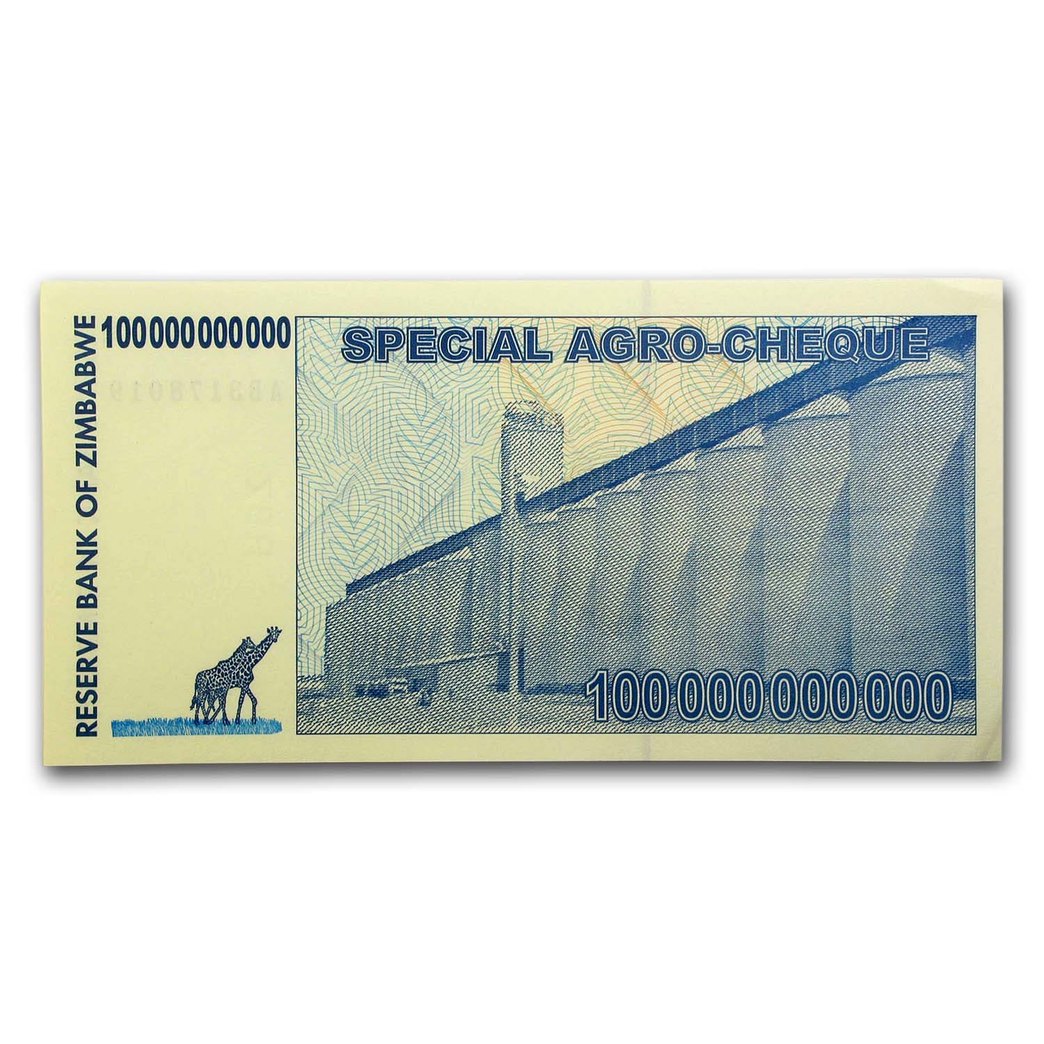 2008 Zimbabwe 100 Billion Dollars Giraffe Grain Elevators Unc