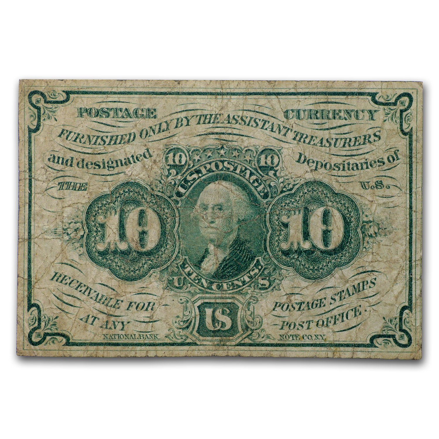1st Issue Fractional Currency 10c (Fine) FR#1242