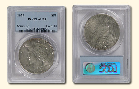1928 Peace Dollar Almost Uncirculated PCGS