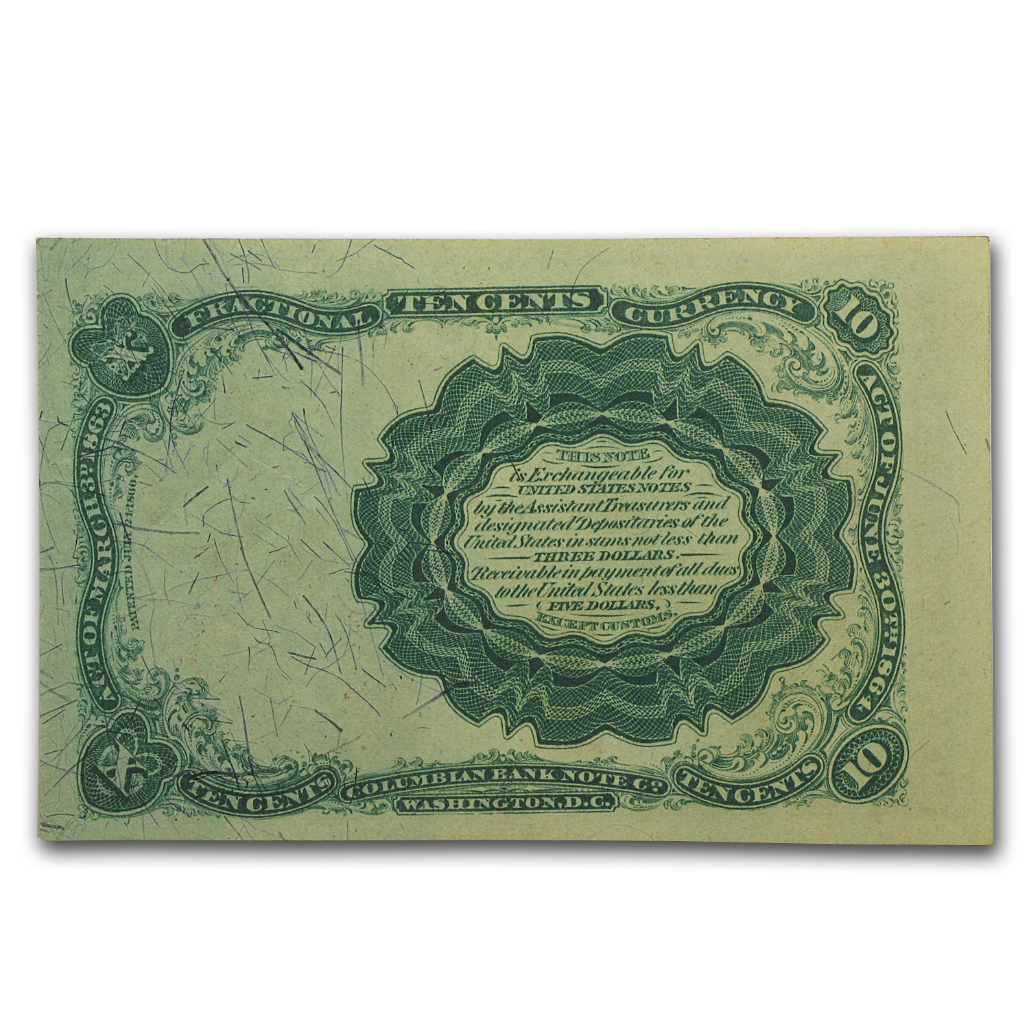 5th Issue Fractional Currency 10 Cents AU (FR#1266)