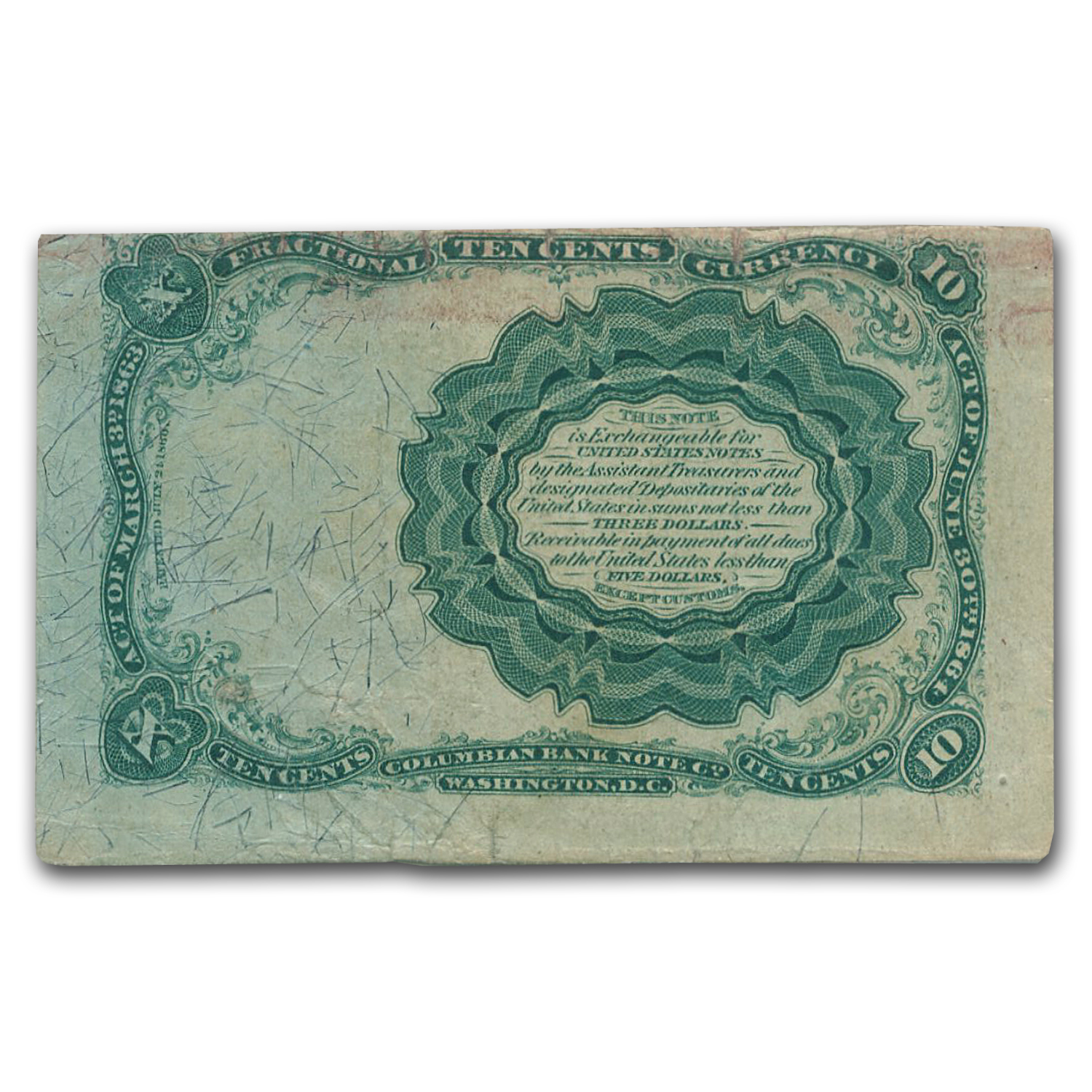 5th Issue Fractional Currency 10 Cents Fine (FR#1266)