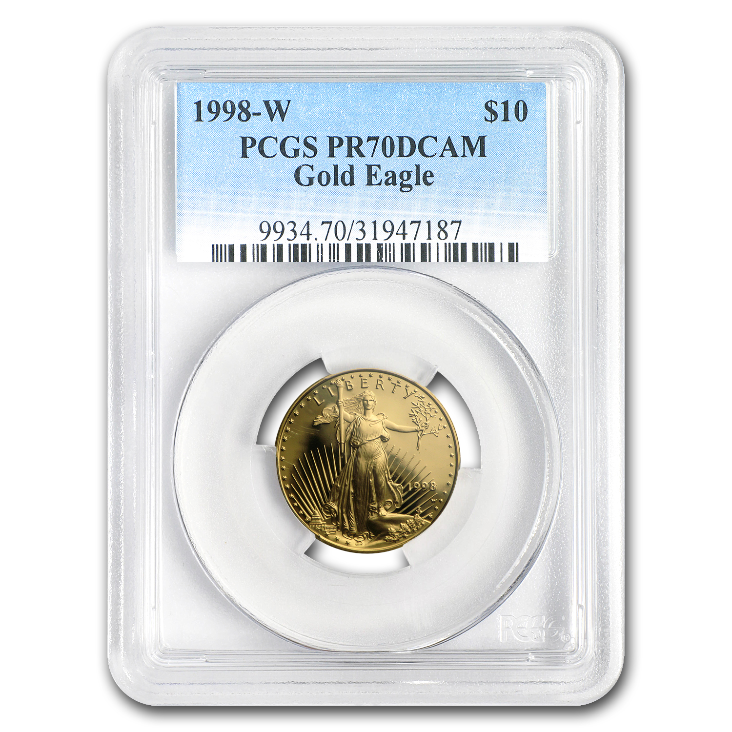 1998-W 1/4 oz Proof Gold American Eagle PR-70 PCGS