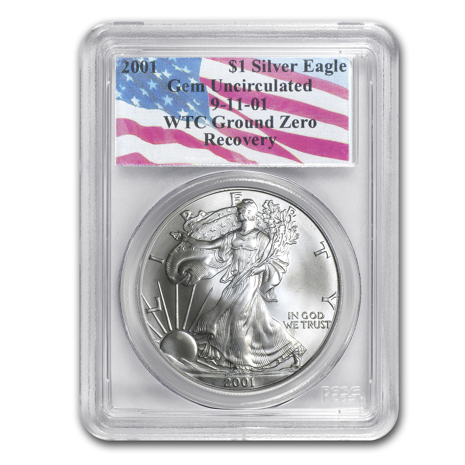 2001 Silver American Eagle Gem Unc PCGS (World Trade Center)