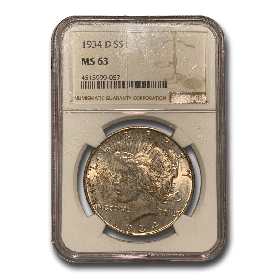 1934-D Peace Dollar MS-63 NGC