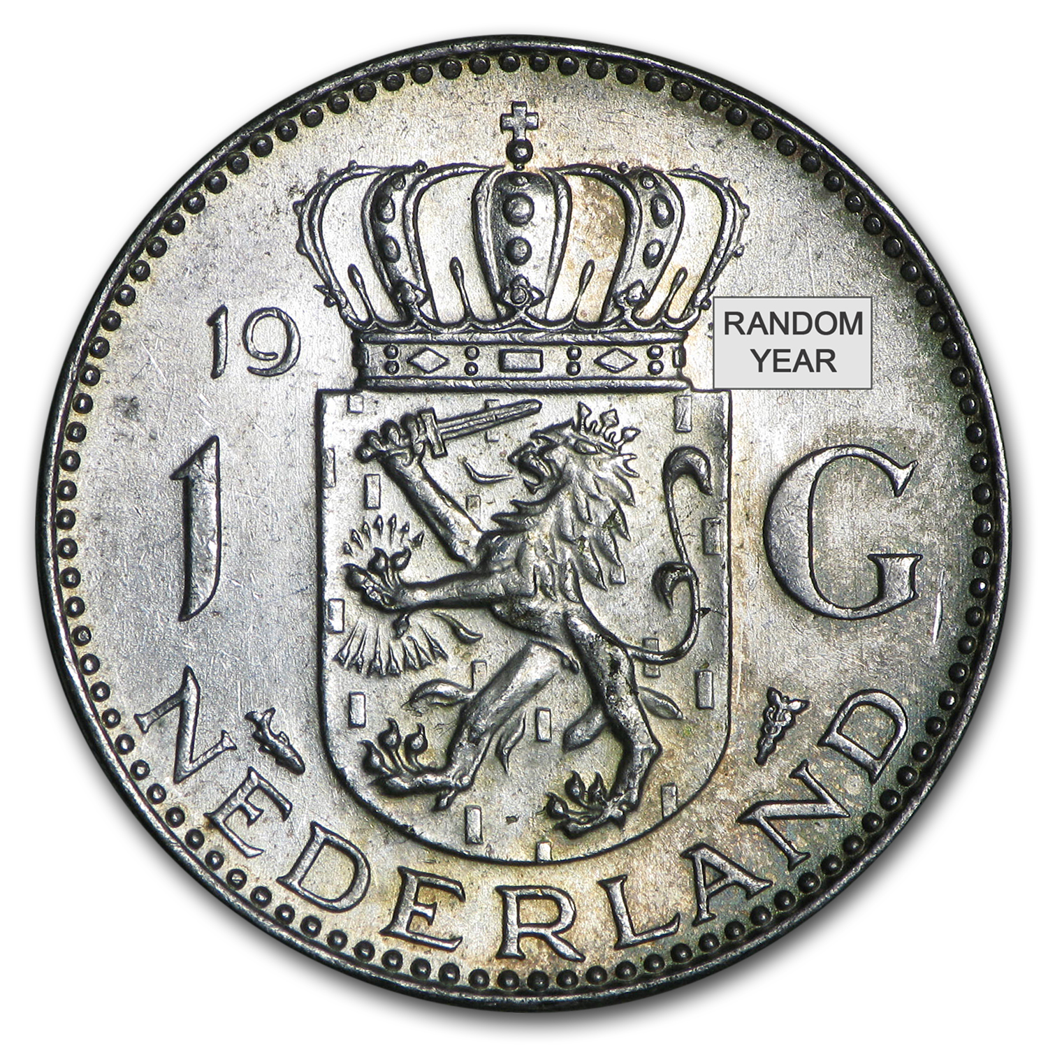 1954-1967 Netherlands Silver Gulden Juliana Avg Circ (ASW .1505)