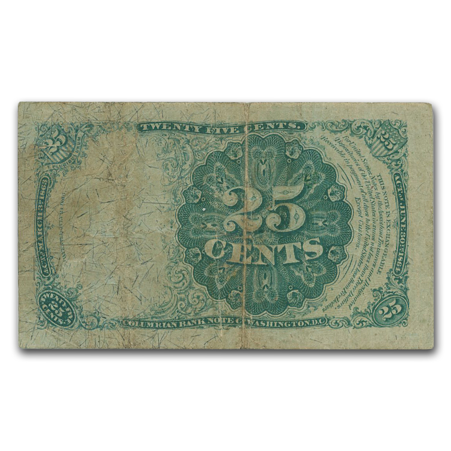 5th Issue Fractional Currency 25 Cents Fine (FR#1309)