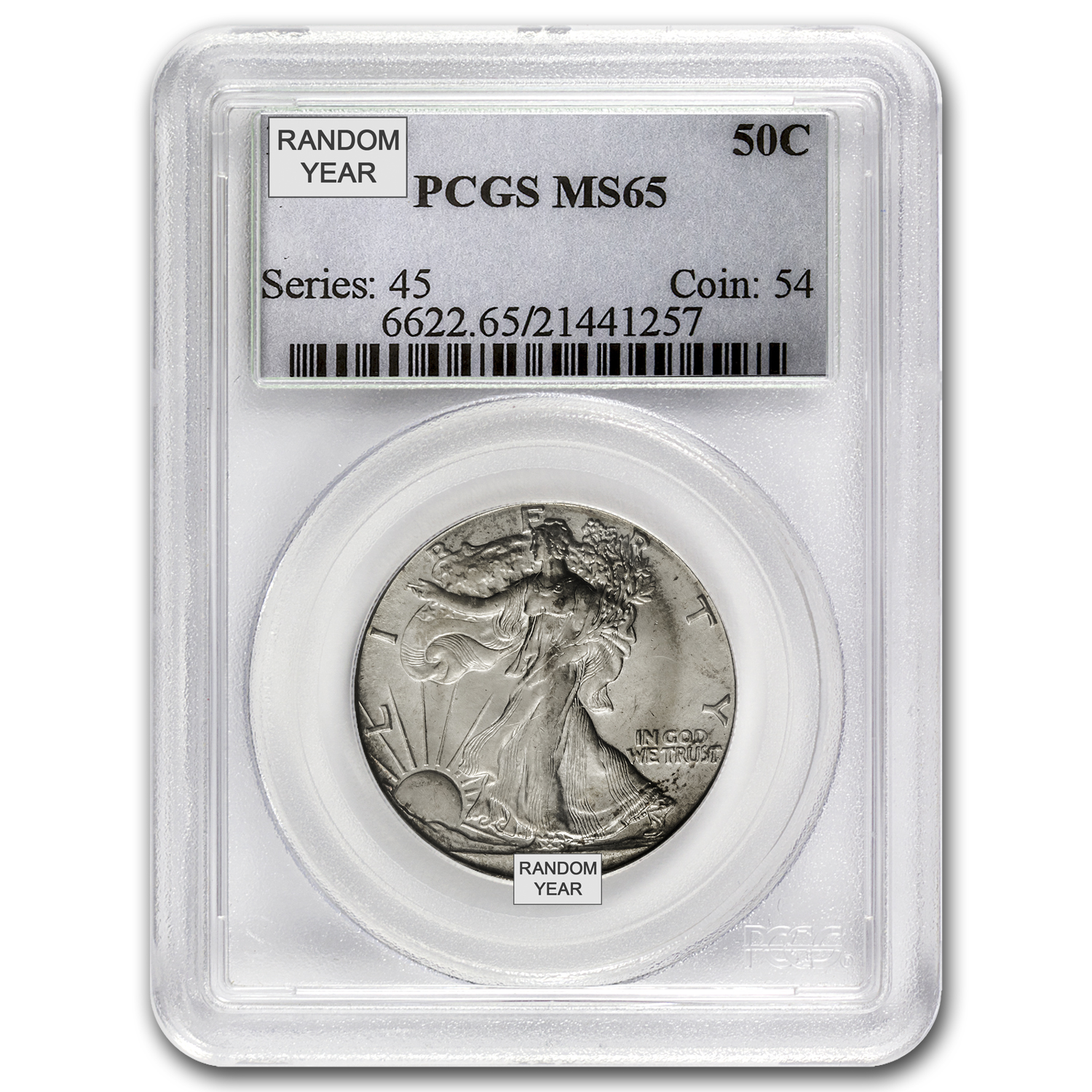 1940-1947 Walking Liberty Half Dollar MS-65 PCGS (Random)