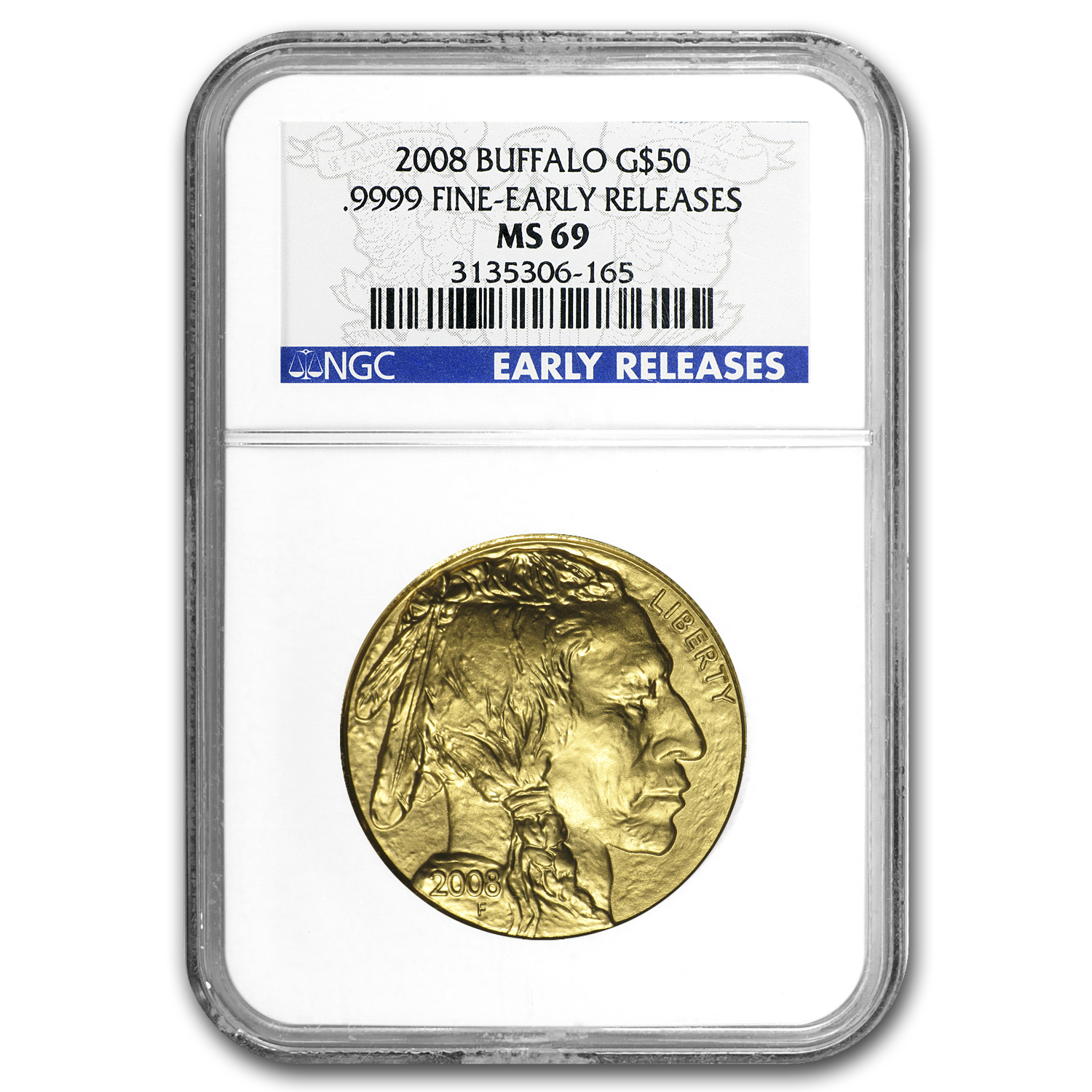 2008 1 oz Gold Buffalo MS-69 NGC (Early Releases)
