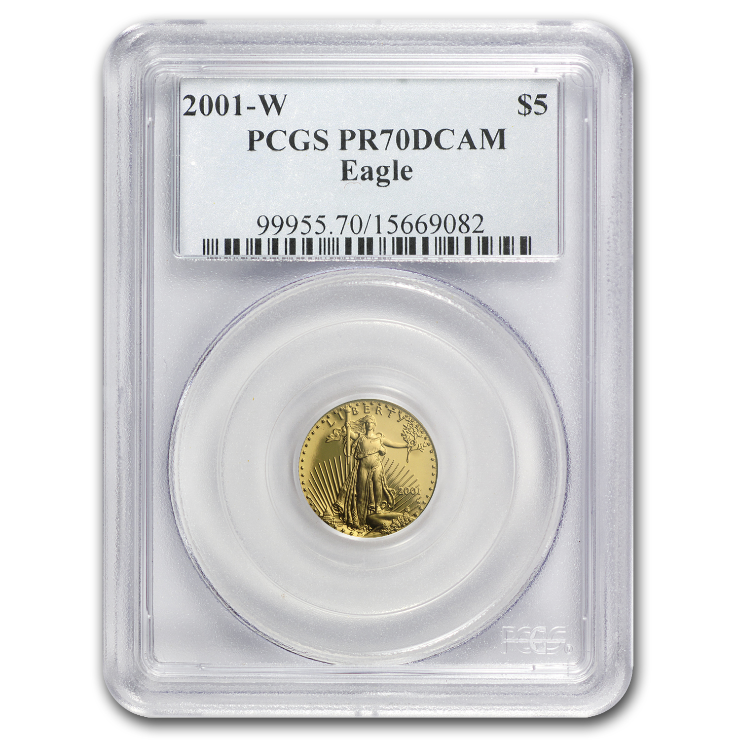 2001-W 1/10 oz Prf Gold American Eagle PR-70 PCGS (Registry Set)