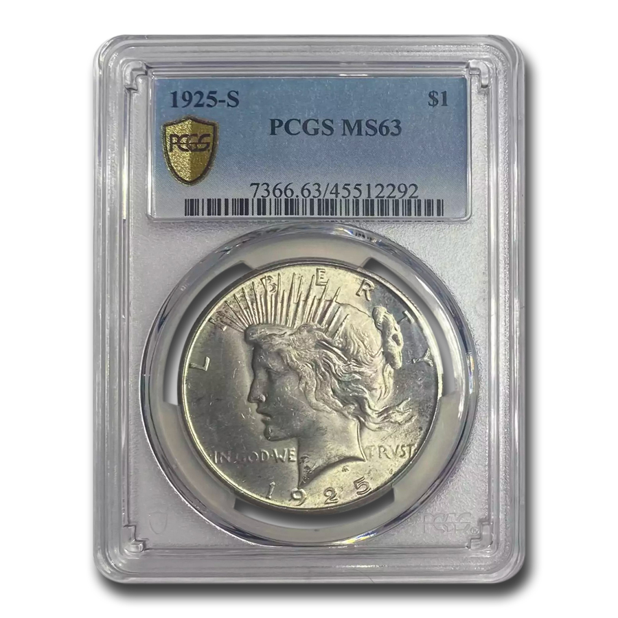 1925-S Peace Dollar MS-63 PCGS