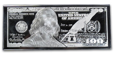 4 oz Silver Bar - Ben Franklin $100 (Replica)