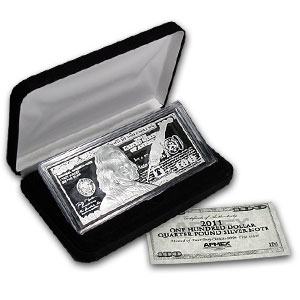 4 oz Silver Bars - Ben Franklin $100 (Replica)