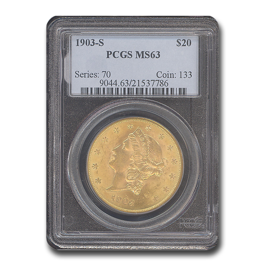 1903-S $20 Gold Liberty Double Eagle - MS-63 PCGS