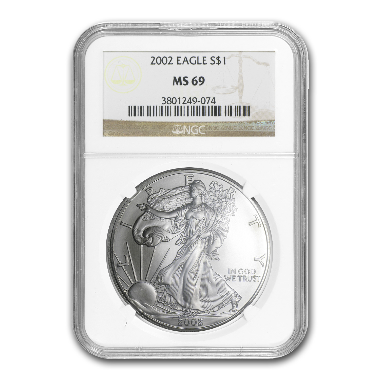 2002 Silver American Eagle MS-69 NGC