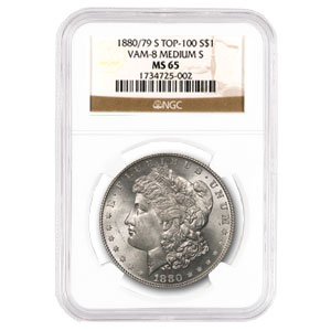 1880/79-S Morgan Dollar MS-65 NGC (VAM-8, Md S, Top-100)