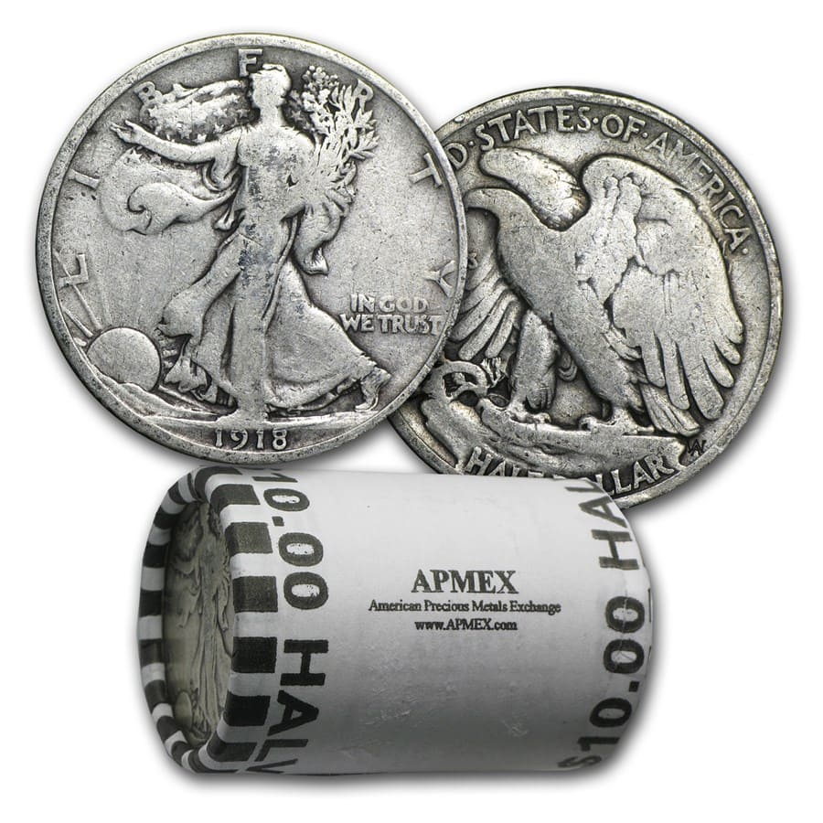 90% Silver Walking Liberty Halves $10 20-Coin Roll (1916-1929)