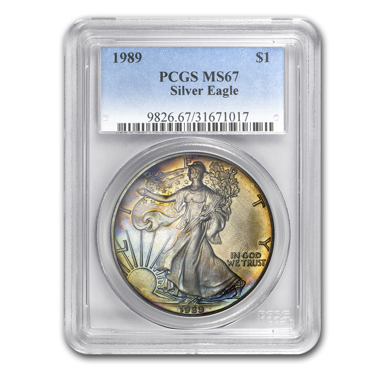 1989 Silver American Eagle MS-67 PCGS (Obv and Rev Toning)