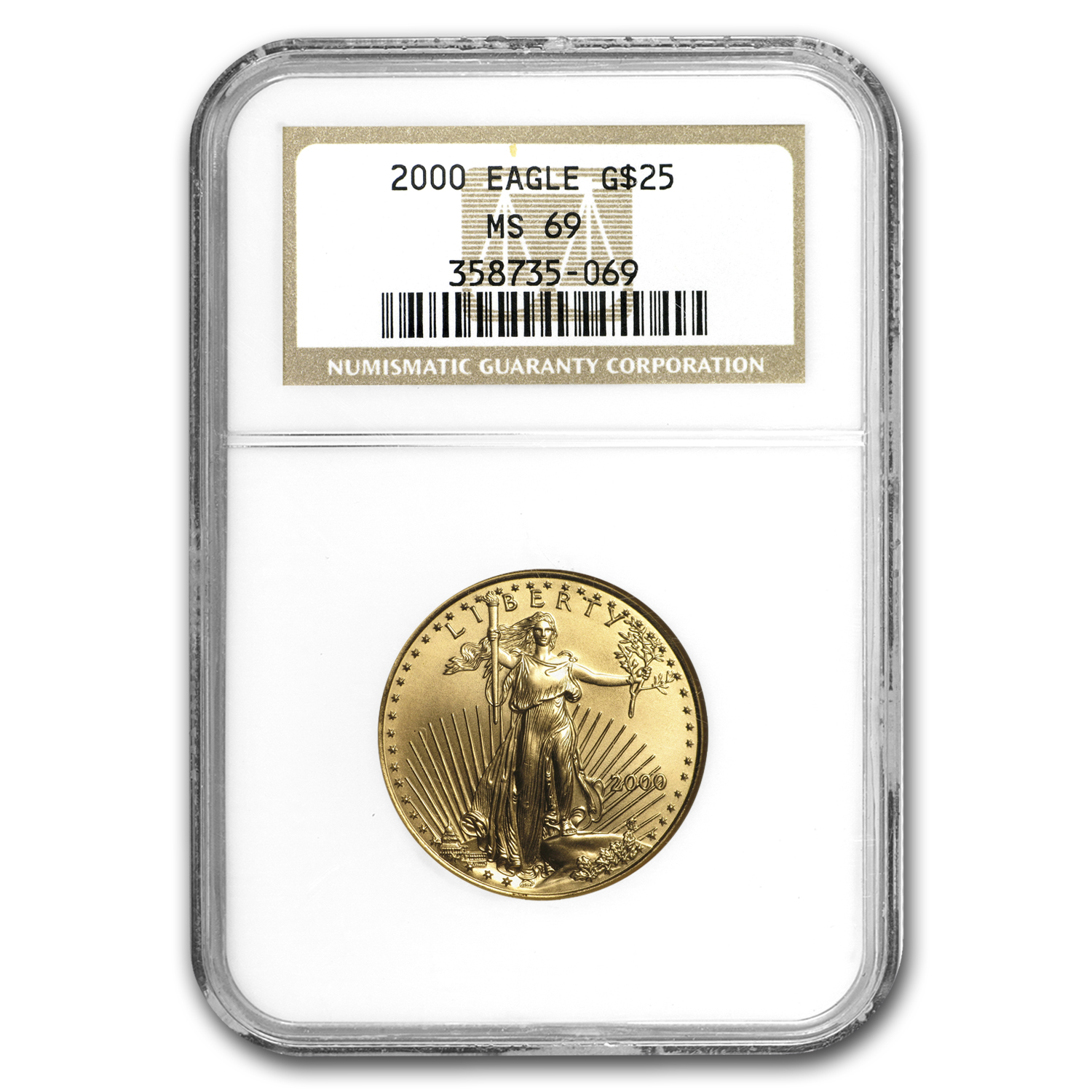 2000 1/2 oz Gold American Eagle MS-69 NGC